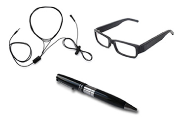 Occhiali, penne e collane per micro auricolari